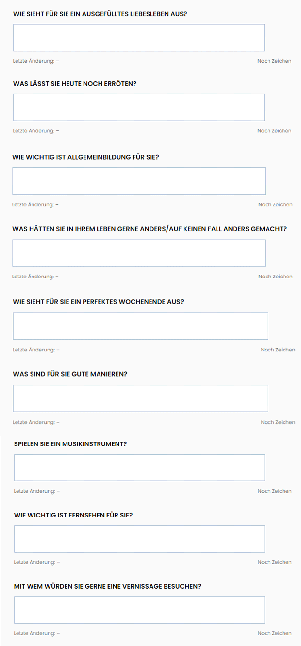 Finya 100 Profilfragen