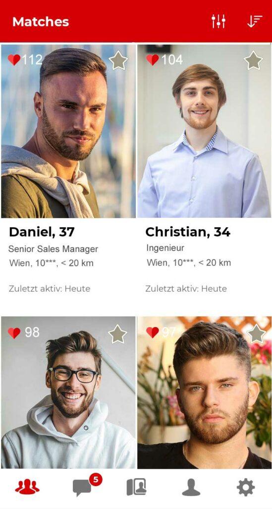 Parship Matches in der App